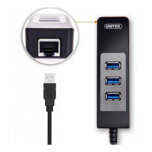 هاب 3 پورت USB3.0 با یک پورت LAN یونیتک Y-3045C