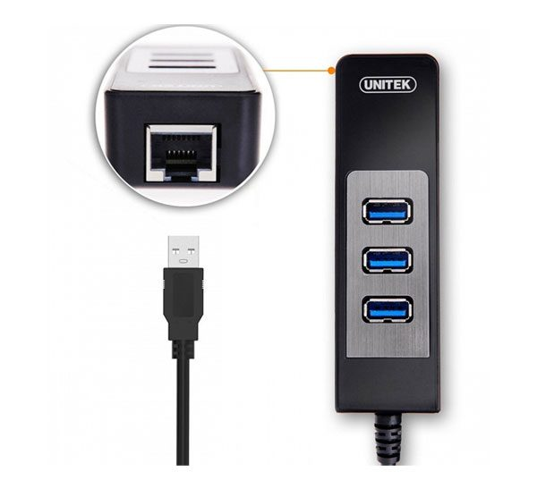 هاب ۳ پورت USB3.0 با یک پورت LAN یونیتک Y-3045C
