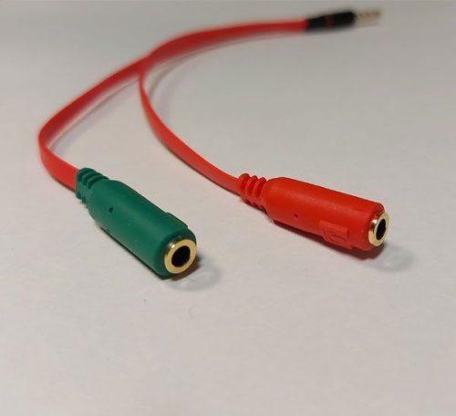 کابل تبدیل یک به دو AUX با قابلیت تفکیک جک هدفون و میکروفون